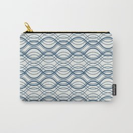 Blue Thin Overlapping Horizontal Lines Pattern on Off White Chinese Porcelain 2020 Color of the Year Carry-All Pouch