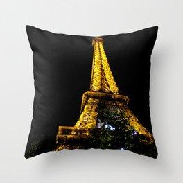 Eiffel Tower lit up at night, Paris Throw Pillow