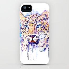 Watercolor Leopard Head iPhone Case