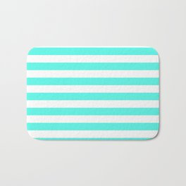 Stripes (Turquoise & White Pattern) Bath Mat