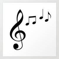 music notes Art Prints featuring Music Notes! by  ImagineGallery