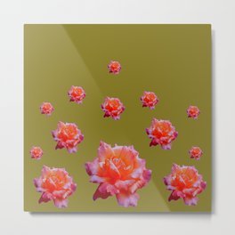 RAINING ANTIQUE PINK ROSE FLOWERS AVOCADO COLOR Metal Print