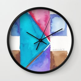 180818 Geometrical Watercolour 8| Colorful Abstract | Modern Watercolor Art Wall Clock