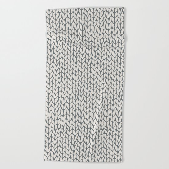 Hand Knit Grey Beach Towel