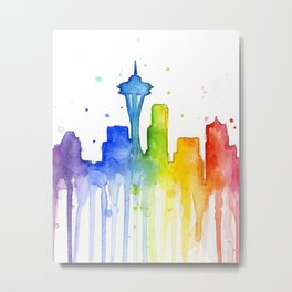 Seattle Skyline Rainbow Watercolor Metal Print