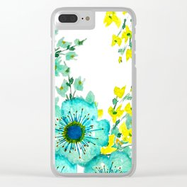 Teal Fantasy Poppies Clear iPhone Case