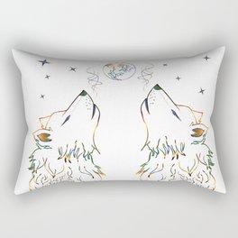 Two wolves howling Rectangular Pillow