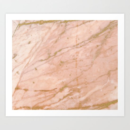 Pink marble with gold veins Art Print