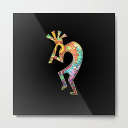 Kokopelli in stunning floral design Metal Print