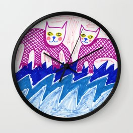 Cats on Water Wall Clock