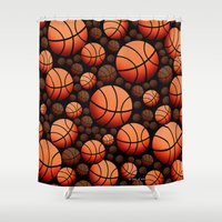 basketball Shower Curtains featuring Basketball by joanfriends