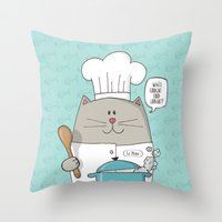 chef Throw Pillows featuring Chef cat, chef hat, ZWD009S6 by ZeeWillDraw
