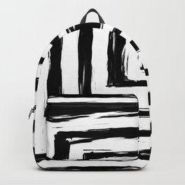 Minimal Black and White Square Rectangle Pattern Backpack