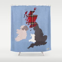 British Isles Fabric Map Art Shower Curtain