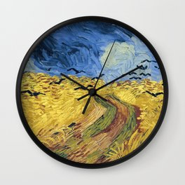 Wheatfield with Crows by Vincent van Gogh Wall Clock
