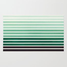 Watercolor Gouache Mid Century Modern Minimalist Colorful Deep Green Stripes Rug