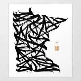 Minnesota Calligram Art Print