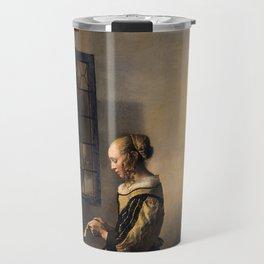 "Johannes Vermeer ""Girl Reading a Letter at an Open Window"" Travel Mug"