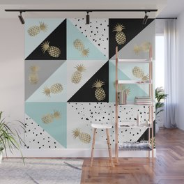 Pastel color block watercolor dots faux gold pineapple Wall Mural