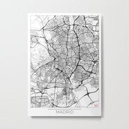 Madrid Map White Metal Print