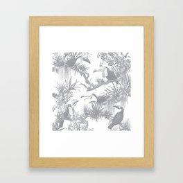 Toucans and Bromeliads - Sharkskin Grey Framed Art Print