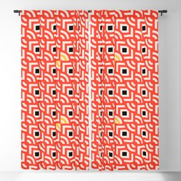 Round Pegs Square Pegs Red-Orange Blackout Curtain