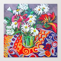 daisies Canvas Prints featuring Daisies by marlene holdsworth