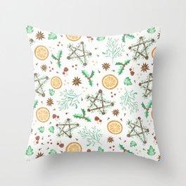 Pagan Yule Solstice Pattern Throw Pillow