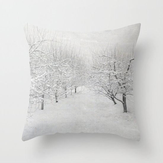 Winter Apple Orchard Throw Pillow