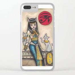 Bastet Cat Goddess Clear iPhone Case