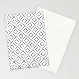 Grey Diamond Pattern 2 Stationery Cards