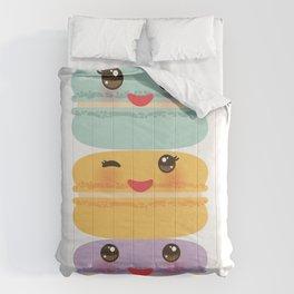 Kawaii macaroon funny orange blue lilac cookie with pink cheeks with pink cheeks and big eyes Comforters