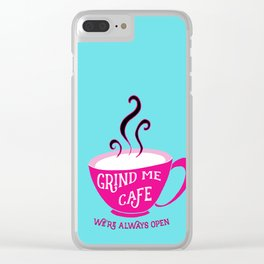 Grind Me Cafe - Blue Clear iPhone Case