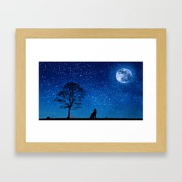 Wolf Howling at the Moon Before the Stars Framed Art Print