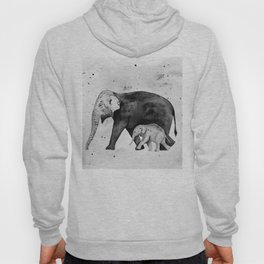 Family of elephants, black and white Hoody