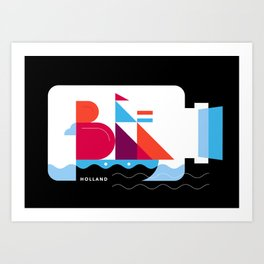 Postcards from Amsterdam / Bottle Ship Art Print