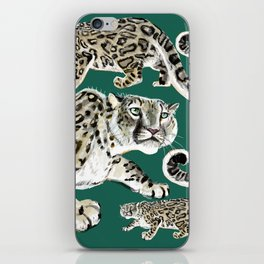 Snow leopard in green iPhone Skin