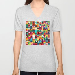 Abstract Geometric Mountains Unisex V-Neck