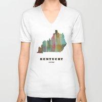 kentucky V-neck T-shirts featuring Kentucky state map modern by bri.buckley