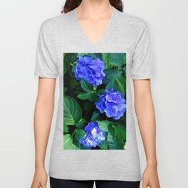 Three Hydrangea Blossoms Unisex V-Neck