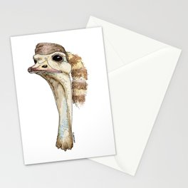 Ostrich in a Coonskin Hat Stationery Cards