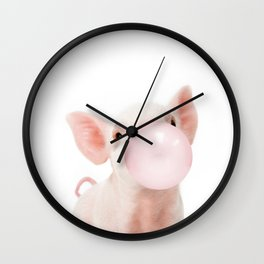 Bubble Gum Baby Pig Wall Clock
