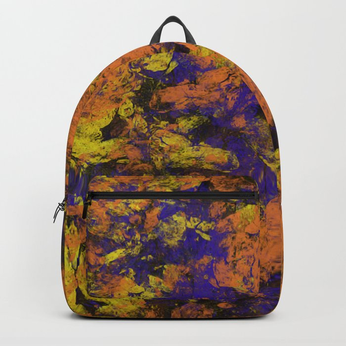 Vivid - Abstract, textured painting in amber, yellow and blue Backpack