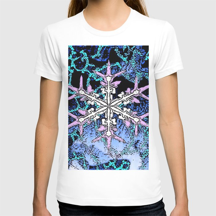 GRAPHIC WINTER SNOWFLAKE PEN & INK DRAWING T-shirt