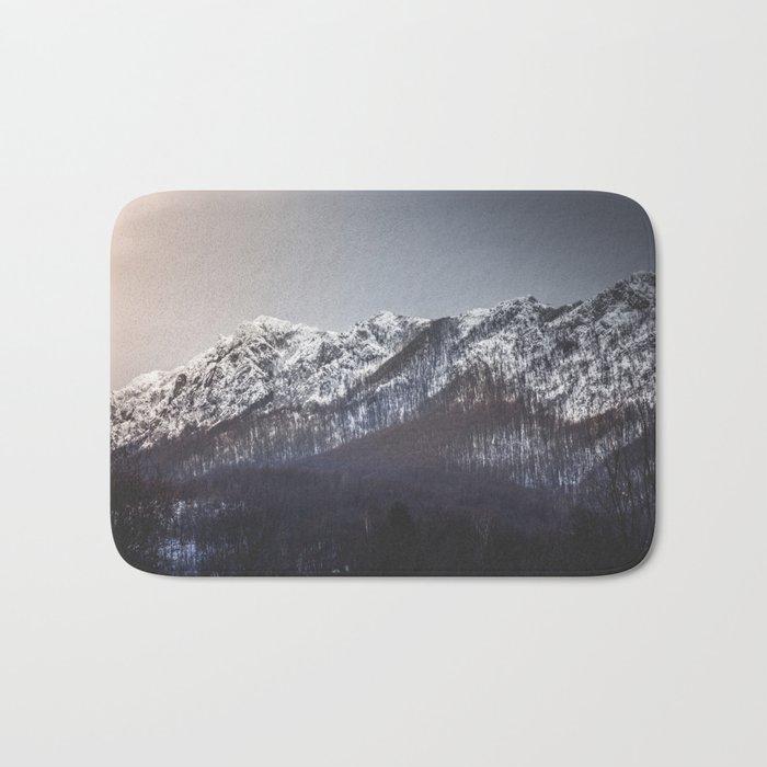 Snowy Mountain Range Bath Mat