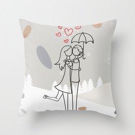 Romantic couple under umbrella, Flat design winter background Throw Pillow