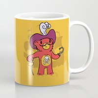 captain hook Mugs featuring Captain Bear Hook by pepemaracas