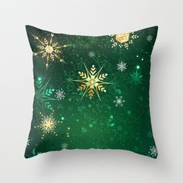 Gold Snowflakes on a Green Background Throw Pillow