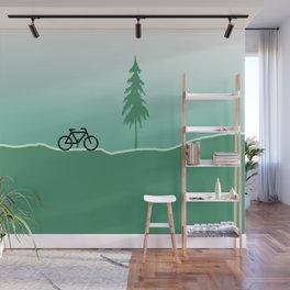 Minimal Design - Tree Road Bicycle green Wall Mural