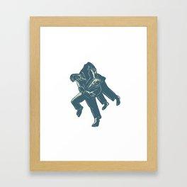 Judo Scratchboard Framed Art Print